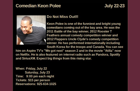 Keon Polee Comedy Shows July 22 23