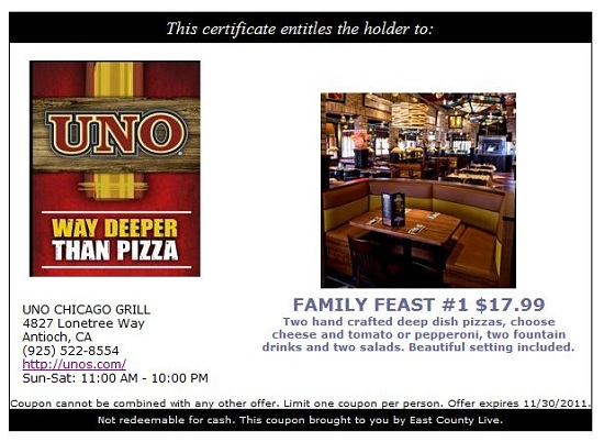 photograph relating to Unos Coupons Printable known as Uno chicago grill keep discount codes : Beaverton bakery discount codes
